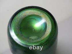 STUNNING ANTIQUE LOETZ CRETA SILBERIRIS GREEN IRIDESCENT ART GLASS VASE c. 1901