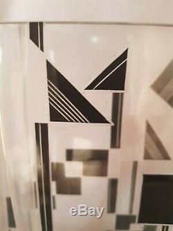 STYLIZED Czech Art Deco SO DECO Czech Karel Palda Glass Black Geometric Vase