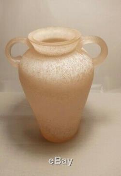 Seguso Vetri d'Arte Large Murano'Scavo' Sommerso Art Glass Pink Vase Mint
