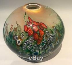 Shawn Messenger Studio Art Glass Millefiori Vase/Paperweight Landscape Series