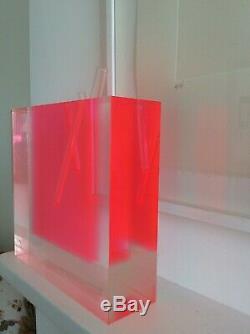 Shiro Kuramata Vase Clear Glass and Acrylic Fluoro Pink