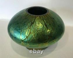 Signed 2013 Stuart Abelman Green Blown Art Glass Vase Bowl w Flower Frog IKM60