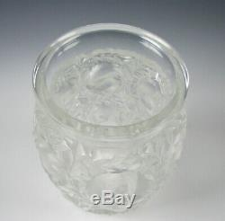 Signed Lalique Bagatelle Frosted Art Glass Vase with Birds