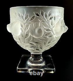 Signed Lalique France Art Glass Elizabeth Footed Frosted Bird Vase Bowl
