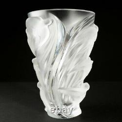 Signed Lalique Martinets Art Glass Clear Frosted Crystal Vase Raised Birds 9.5