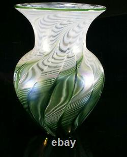 Signed Lundberg Studios Art Glass Vase Excellent