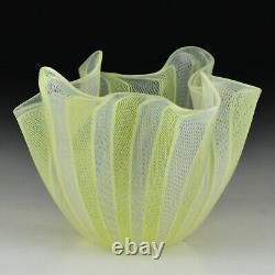 Signed Venini Murano Art Glass Latticino Yellow White Handkerchief Vase