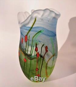 Signed norman stuart clarke seabed art glass vase