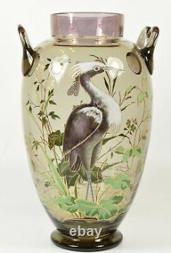Stunning Large Art Nouveau c1900 Hand Painted Harrach Bohemian Glass Heron Vase