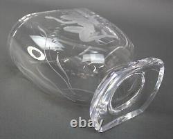Stunning Lars Kjellander Swedish Art Deco Mermaid Etched Crystal Art Glass Vase