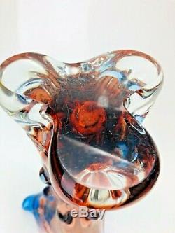 Stunning Murano Art Glass Lumpy Tree Vase Sculpture Amber Blue Violet 13x7