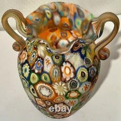 Stunning Murano Very High Quality Art Glass Millefiori Murrine Freeform Vase