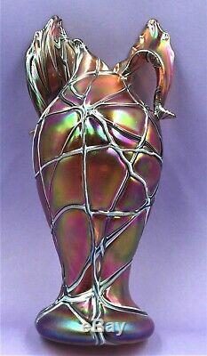 Stunning Palme Koenig Art Nouveau Loetz Style Glass Vase Great Form Exc Cond