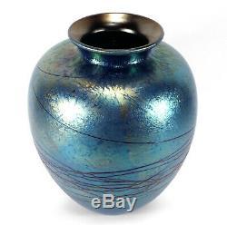 Stunning Vintage 1995 Don Carlson Studio Art Glass Vase Threaded Blue Iridescent