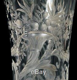Superb Antique Copper Engraved Art Glass Vase Exquisite Griffin Flower Details