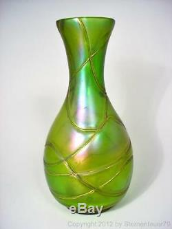 TOP art nouveau IRIDESCENT banded glass VASE PALLME KOENIG loetz kralik GREEN