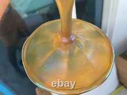 Tall antique iridescent Tiffany Art Nouveau vase Art glass American favrile