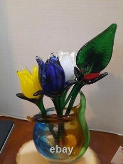 U Choose 1-12 Venetian Murano Picasso Art Glass Face Vase & Lg Murano Flowers