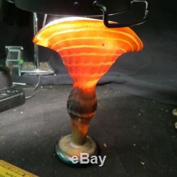 Unmarked KRALIK or LOETZ / fabulous art glass FAN VASE 8.5 tall / broken pontil