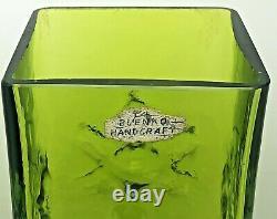 VTG Blenko Art Glass Daisy Rectangular Vase 3-Flower Husted Olive Green 6115L