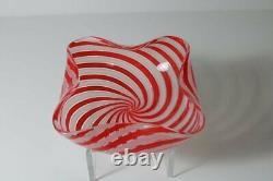 VTG Italian Murano Archimede Seguso Art Glass Red Pink Spiral Cane Vase