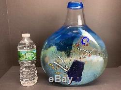 VTG Kosta Boda Bertil Vallien Turquoise Satellite Blue Art Glass Vase 12 Tall