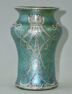 Vase Loetz Widow Cobalt Creta Papillon Silver Overlay, Art Nouveau, 1900
