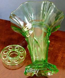 Vaseline Glass STOLZLE Old Czech Art Deco Emerald Green Tall Frog Vase