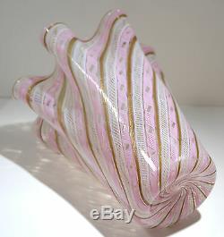 Venini Murano Italian Latticino Art Glass Grand Size Vase Circa 1940s