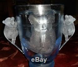 Very Rare Art Deco Blue Frosted Koalas Clear Vase on Stand with Flower Frog