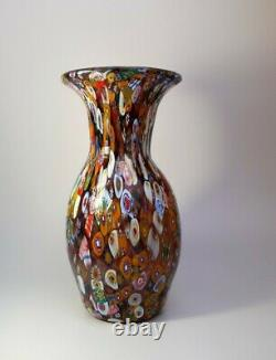Vintage 1960s Fratelli Toso Millefiori Flowers Murano Art Glass Vase Collectable