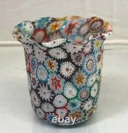 Vintage 3.6 Murano Art Glass Ruffled Vase With Millefiori Made In Italy