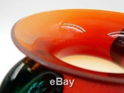 Vintage Alfredo Barbini Murano Studio Art Glass Frosted Flower Vase Signed