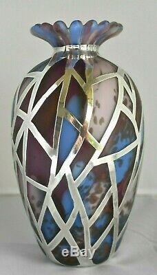 Vintage Britannia 95.8 Sterling Silver Overlay Art Glass STRICKETT & LODER Vase