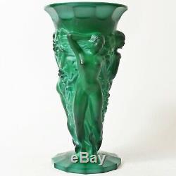 Vintage Czech Art Deco Malachite Glass Vase Curt Schlevogt, Heinrich Hoffman