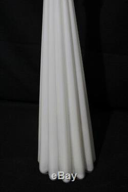 Vintage Italian Ribbed WHITE Art Glass 28 Decanter BOTTLE Vase withStopper, Italy