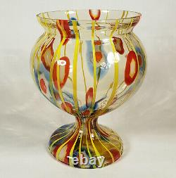 Vintage Kralik Bohemian Czech Art Glass Vase Lines Canes Vaseline Czechoslovakia