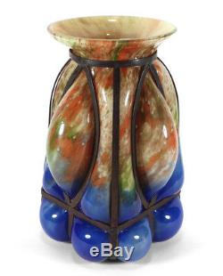 Vintage Kralik Caged Powders Cage Blown Bohemian Art Glass Vase Czechoslovakia