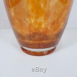 Vintage Large 23.5cm High Monart Style Art Glass Vase Orange And Green