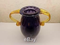 Vintage Large Blenko Handmade Art Glass Vase Amethyst 2 Handled Amber Glass