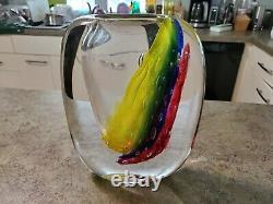 Vintage MURANO Labeled Signed LUIGI ONESTO Art Glass Vase RARE Large Size 10.5