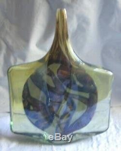 Vintage Mdina art glass Malta, Fish Axe Head, single fine stem Vase