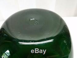 Vintage Mid Century Modern Art Glass Green Bottle Vase Pinch Dimple 8 Blenko