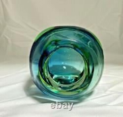 Vintage Murano Sommerso Faceted Block Art Glass Vase Blue Green