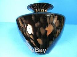 Vintage Murano V. Nason Large Art Glass Vase Black, Copper Aventurine 9.5tall