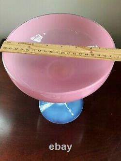 Vintage Pink Opaline Opalescent Art Glass Compote Vase Bowl 9