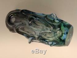 Vintage Retro Art Glass Vase Blue Green Sommerso Cased Glass Skrdlovice Czech