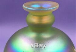 Vintage Rick Satava Studio Iridescent Art Glass Vase Vibrant Colors