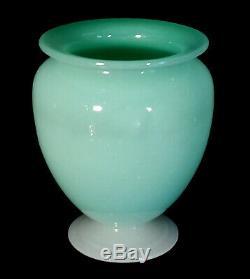 Vintage Steuben Carder Era Footed Art Glass Vase Green Jade & Alabaster #938