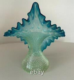 Vintage Vaseline Blurina Art Glass Jack in The Pulpit Tulip Vase